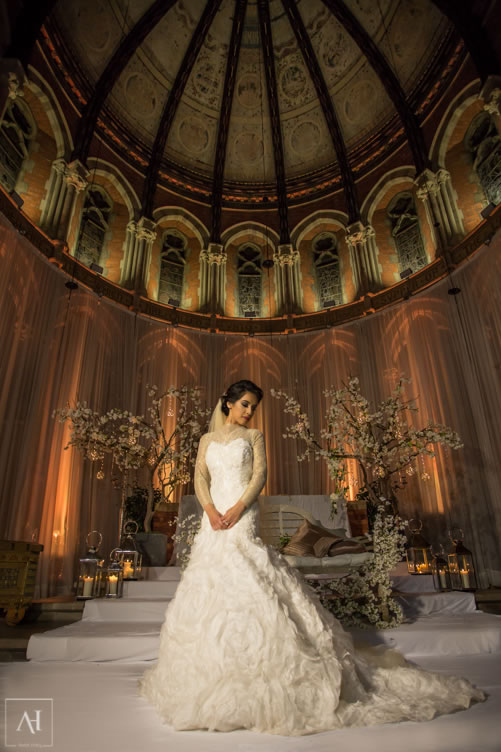 Bride standing at the empire hall