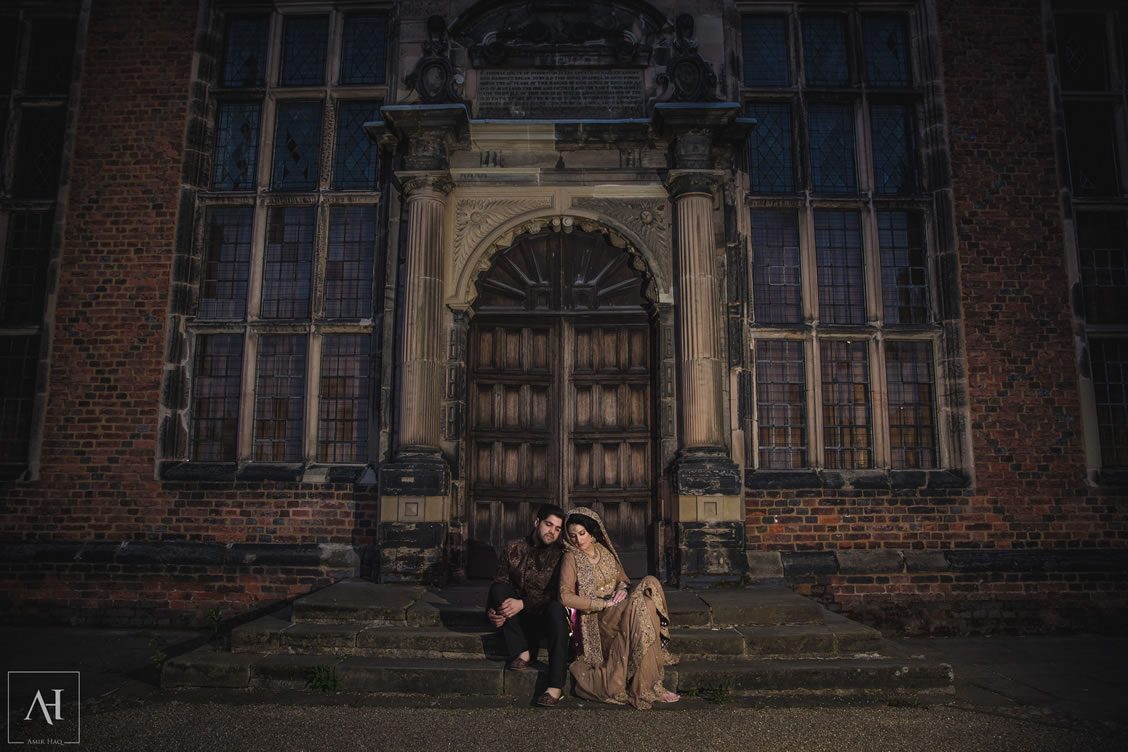 bride and groom at Aston Hall